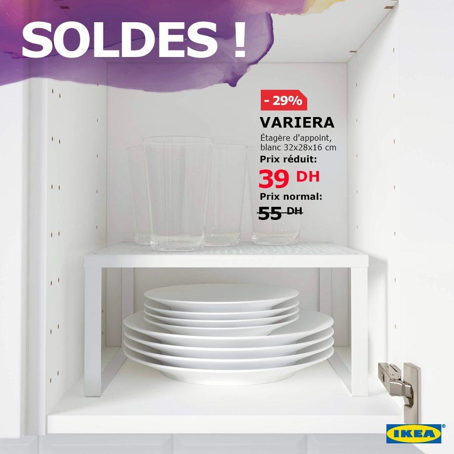 Soldes Ikea Maroc Étagère d'appoint VARIERA blanc 39Dhs au lieu de 55Dhs