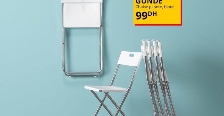 Photo of Offre Spéciale Ikea Maroc Chaise FEJAN extérieur pliable blanche 150Dhs