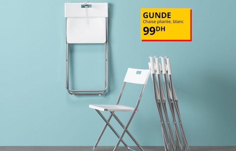 Offre Spéciale Ikea Maroc Chaise FEJAN extérieur pliable blanche 150Dhs