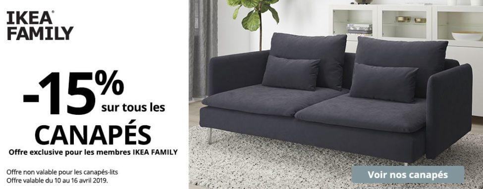 Offre Ikea Family -15% sur tous les Canapés du 10 au 16 Avril 2019