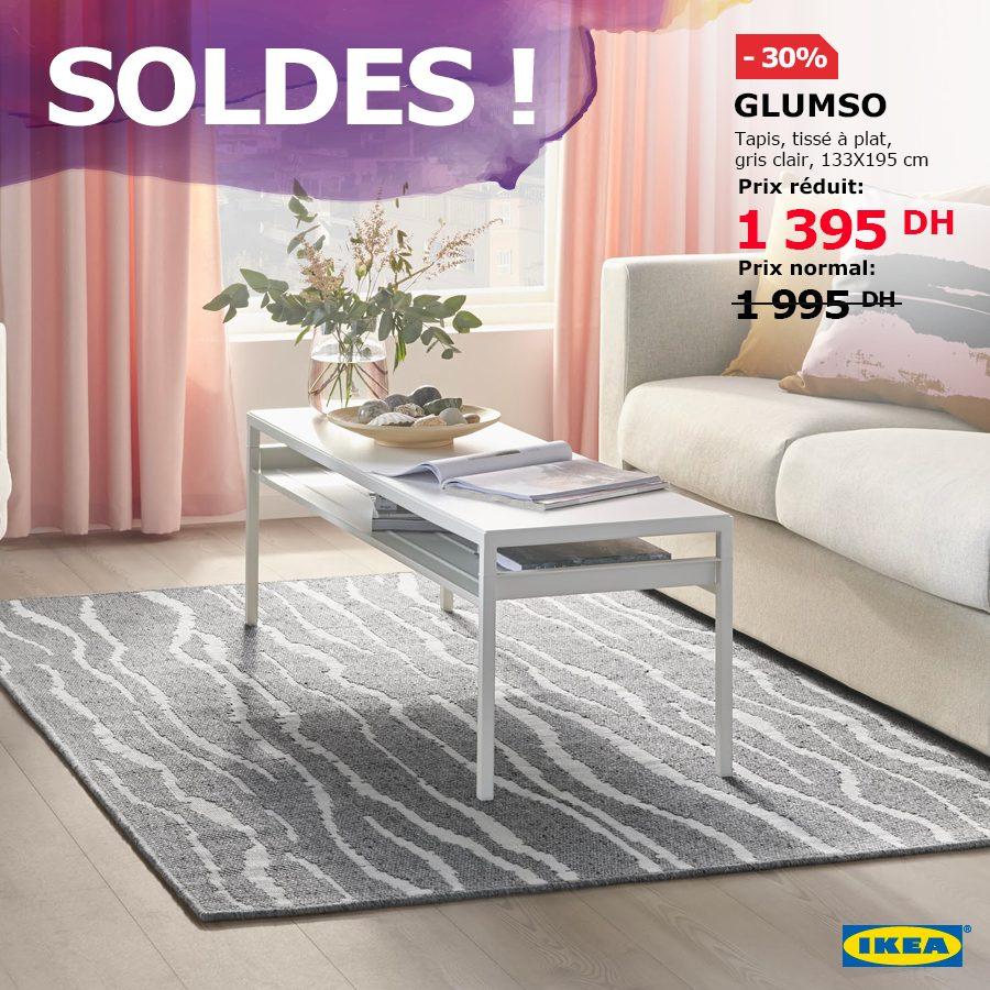 Soldes Ikea Maroc Tapis GLUMSÖ tissé à plat gris clair 1395Dhs au lieu de 1995Dhs