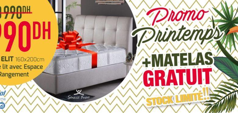 Photo de Promo Printemps chez Istikbal Maroc Sommier ELIT + tête de lit avec rangement 6990Dhs