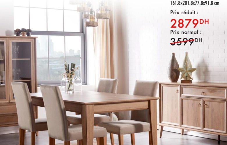 Promo -20% Kaoba Ameublement Table de repas noyer DIANA 2879Dhs au lieu de 3599Dhs