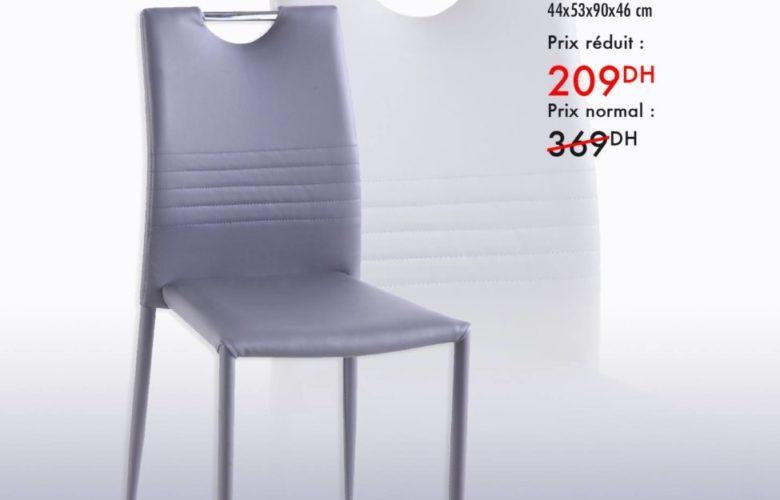 Liquidation Kaoba Ameublement Chaise grise ASTRO 209Dhs au lieu de 369Dhs