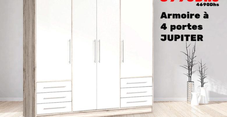 Photo of Soldes Kitea Armoire à 4 portes JUPITER 3990Dhs au lieu de 4690Dhs