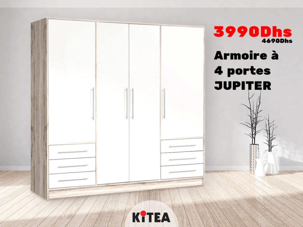 Soldes Kitea Armoire à 4 portes JUPITER 3990Dhs au lieu de 4690Dhs