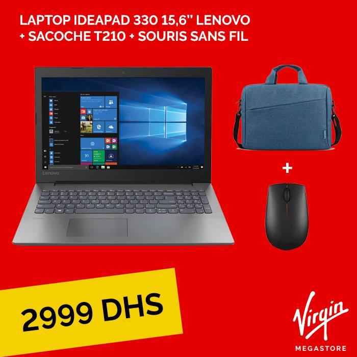 Promo Virgin Megastore Marina Laptop Lenovo Ideapad 330 + Sacoche + souris sans fils 2999Dhs au lieu 3500Dhs