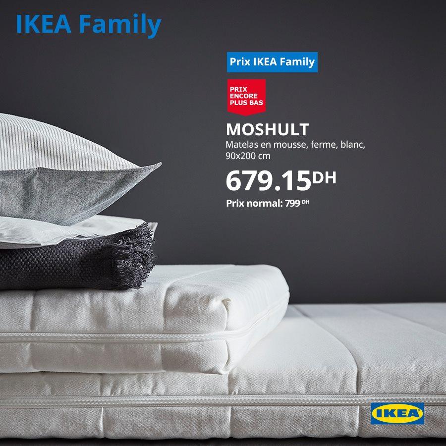 Promo Ikea Family Matelas en mousse 90x200 679Dhs au lieu de 799Dhs