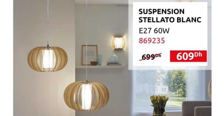 Photo of Promo Mr Bricolage Maroc Suspension STELLATO BLANC 609Dhs au lieu de 699Dhs