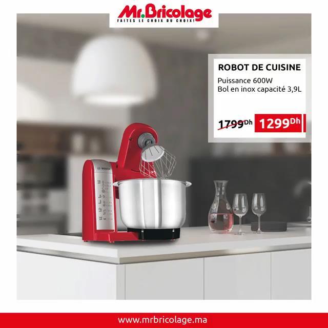 Promo Mr Bricolage Maroc Robot de cuisine Bosch 1299Dhs au lieu de 1799Dhs