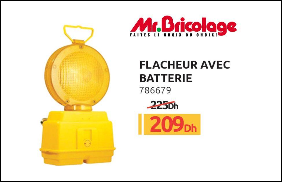 Promo Mr Bricolage Maroc Flasheur avec batterie 209Dhs au lieu de 225Dhs