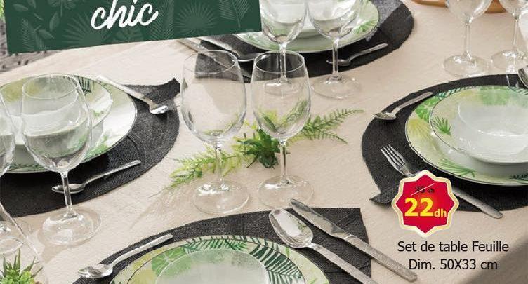 Promo Alpha55 Set de table feuille Une Table Jungle chic 22Dhs au lieu de 35Dhs