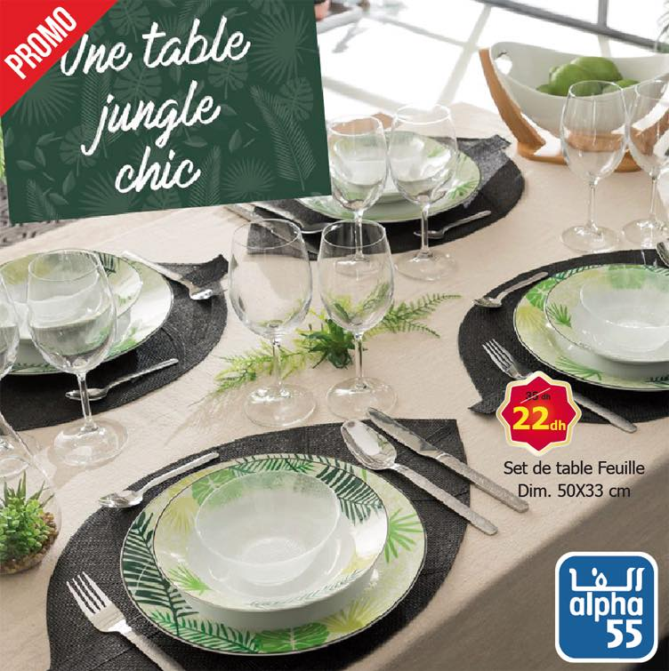 Promo Alpha55 Set de table feuille Une Table Jungle chic 22Dhs au lieu de 35Dhs