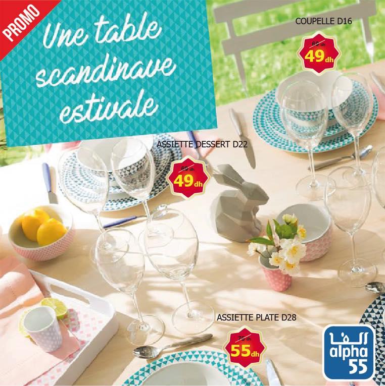 Promo Alpha55 Une table Scandinave estivale à partir 49Dhs