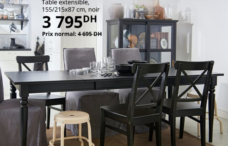 Soldes Ikea Maroc Table extensible noir INGATORP 3795Dhs au lieu de 4695Dhs
