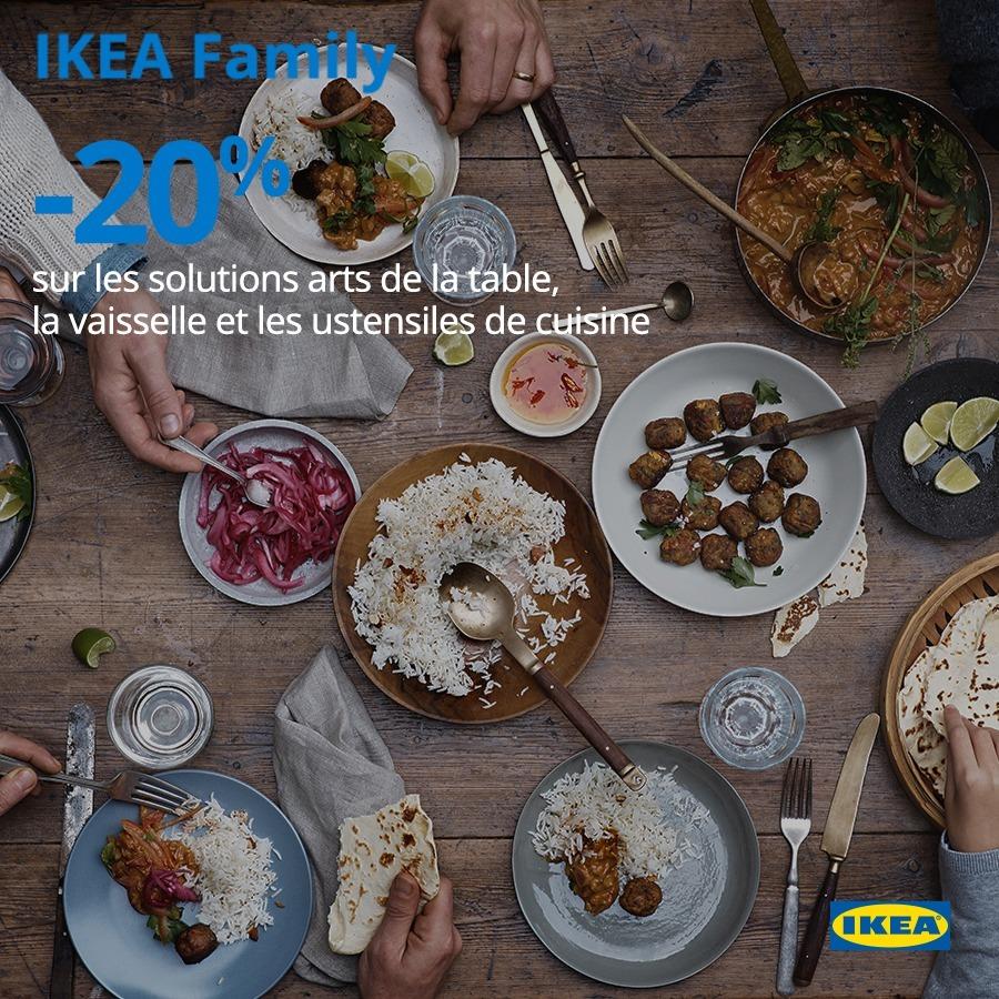 Promo IKEA Family -20% sur les solutions arts de table vaisselle et ustensiles du 15 au 26 Mai 2019