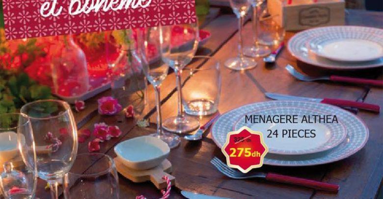 Photo of Promo Alpha55 Une table ethnique et bohème Ménage ALTHEA 24 pièce 275Dhs au lieu de 325Dhs