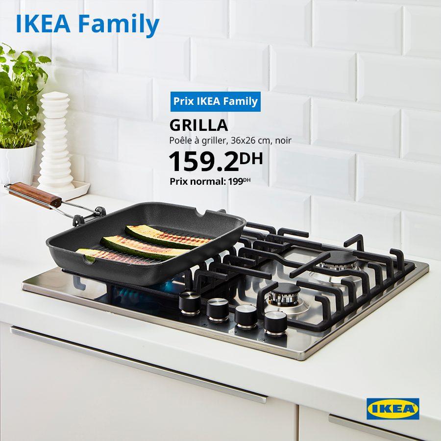 Promo Ikea Family Poêle à griller GRILLA 159Dhs au lieu de 199Dhs