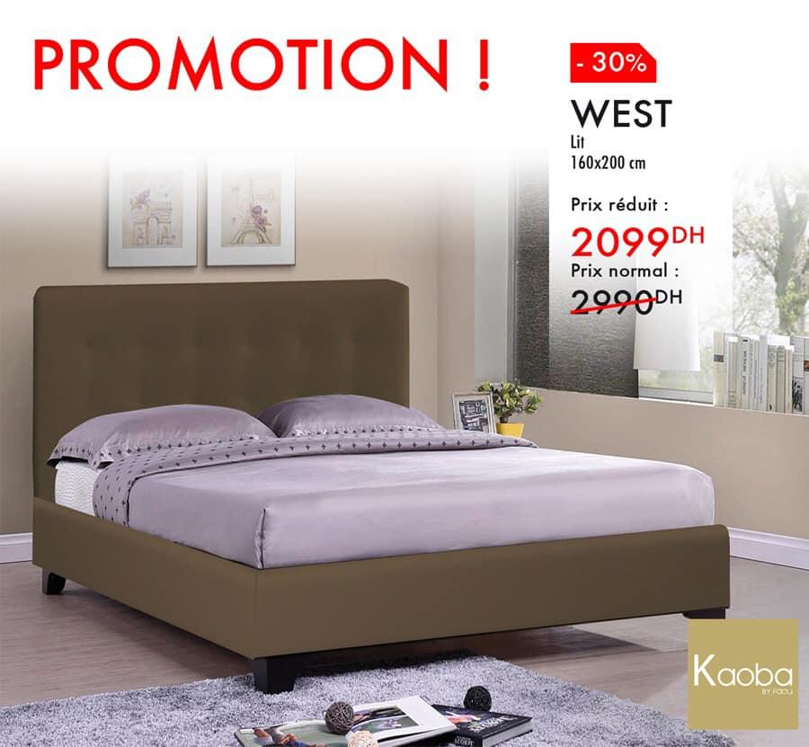 Promo Kaoba Ameublement Lit 160x200cm WEST 2099Dhs au lieu de 2990Dhs
