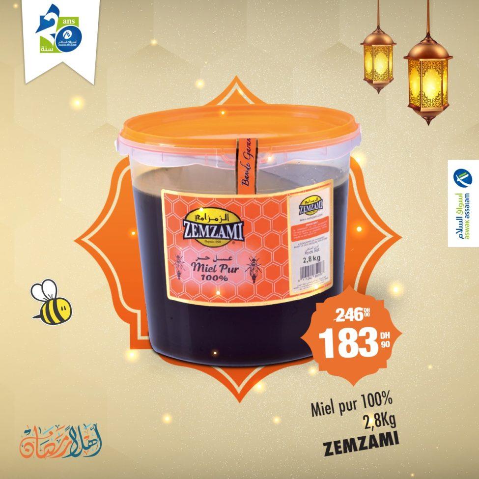 Promo Aswak Assalam Miel 100% pur 2.8Kg ZEMZAMI 183Dhs au lieu de 246Dhs