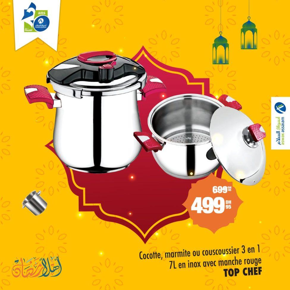 Promo Aswak Assalam 3 en 1 Cocotte marmite couscoussier 499Dhs au lieu de 699Dhs