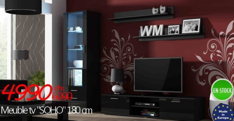 Photo of Promo Azura Home MEUBLE TV SOHO NOIR OU BLANC 4990Dhs au lieu de 6090Dhs