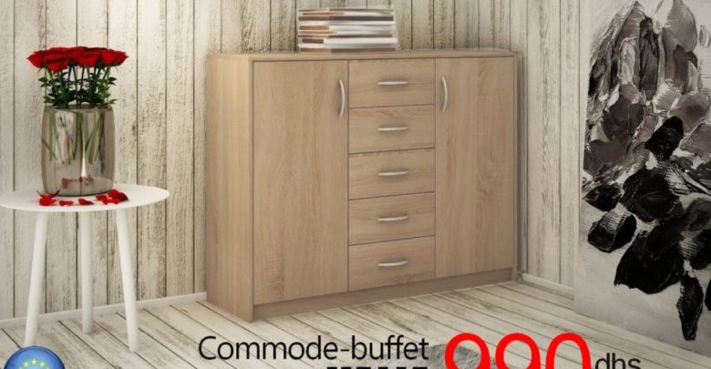 Photo of Promo Azura Home Commode-buffet VALIA 2 portes 5 Tiroirs 990Dhs au lieu de 2290Dhs