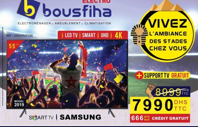 Promo Bousfiha Electro Smart TV 55° Samsung 4K 7990Dhs au lieu de 8999Dhs