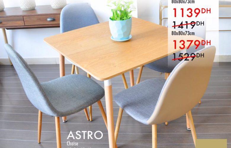 Promo Kaoba Ameublement Table repas BREME 1139Dhs au lieu de 1419Dhs