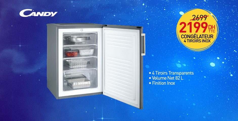 Promo Biougnach Electro Mini-Congélateur CANDY 82L 2199Dhs au lieu de 2699Dhs