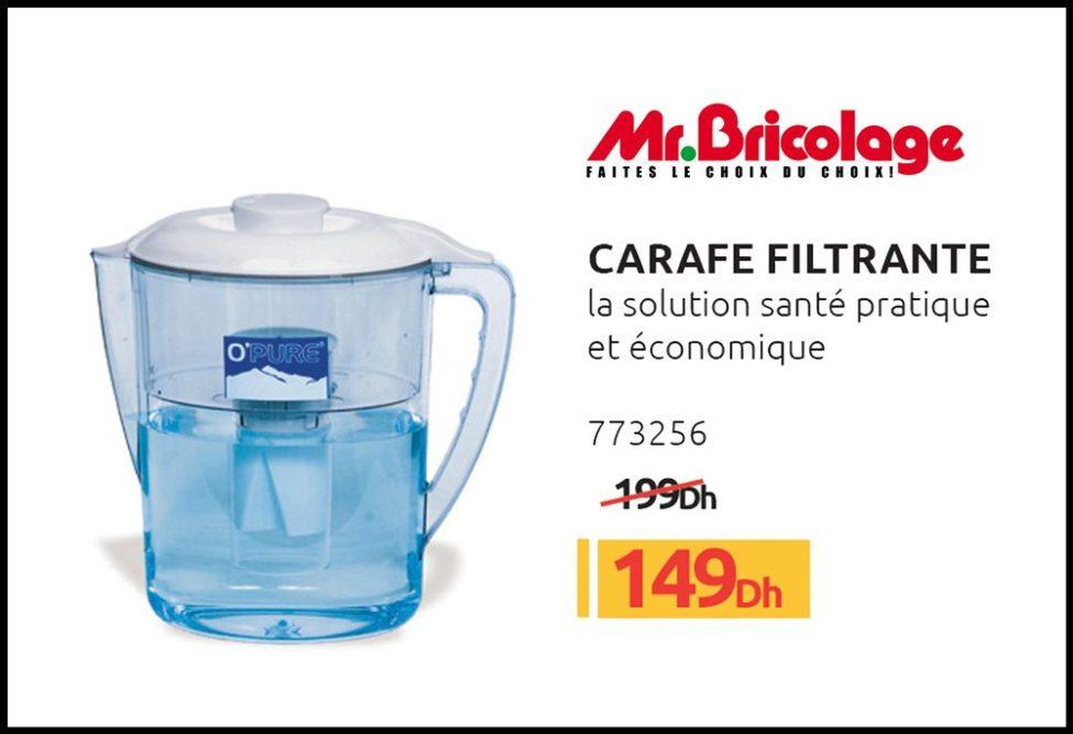 Promo Mr Bricolage Maroc Carafe Filtrante Solution santé pratique et économique 149Dhs au lieu de 199Dhs