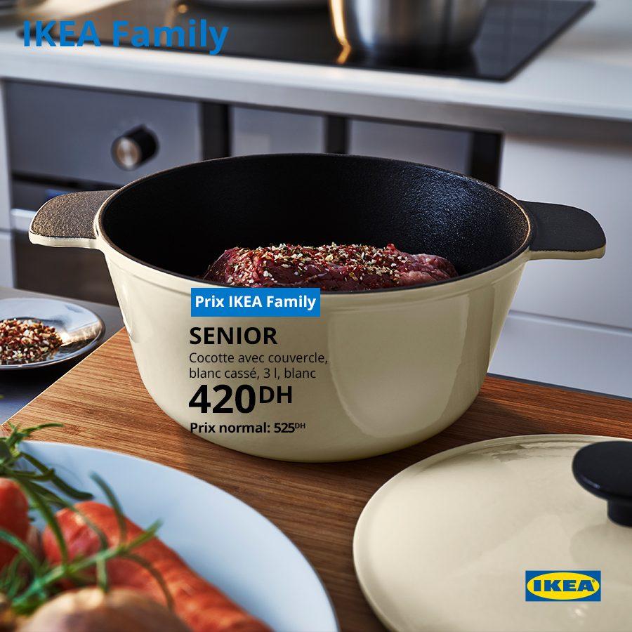 Promo Ikea Family Cocotte avec couvercle SENIOR 420Dhs au lieu de 525Dhs