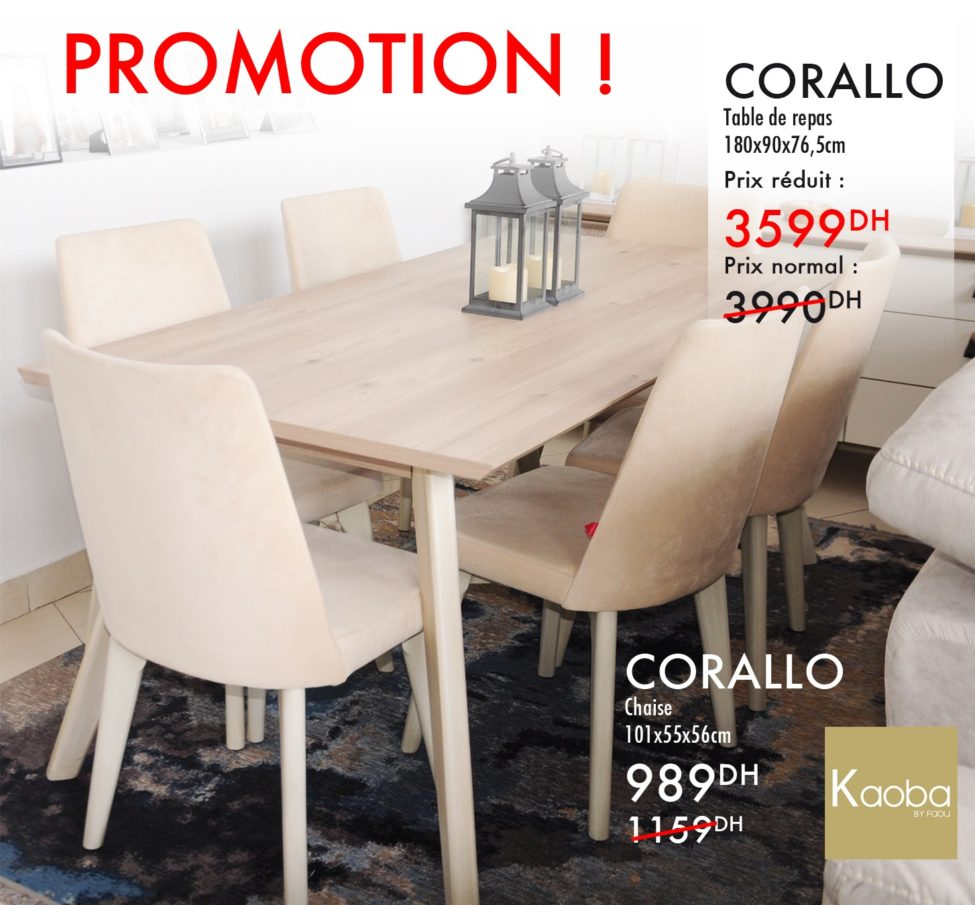 Promo Kaoba Ameublement Table repas & Chaise CORALLO