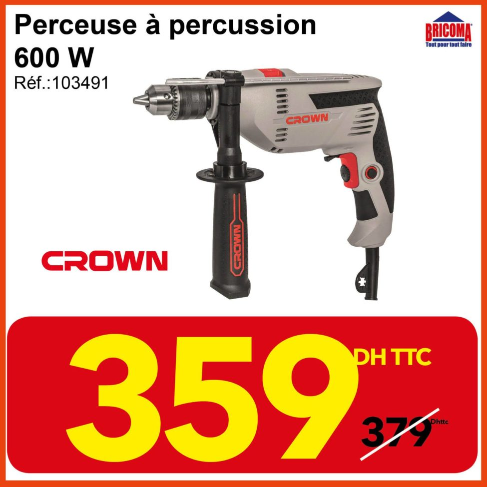 Promo Bricoma Perceuse à percussion 600W CROWN 359Dhs au lieu de 379Dhs