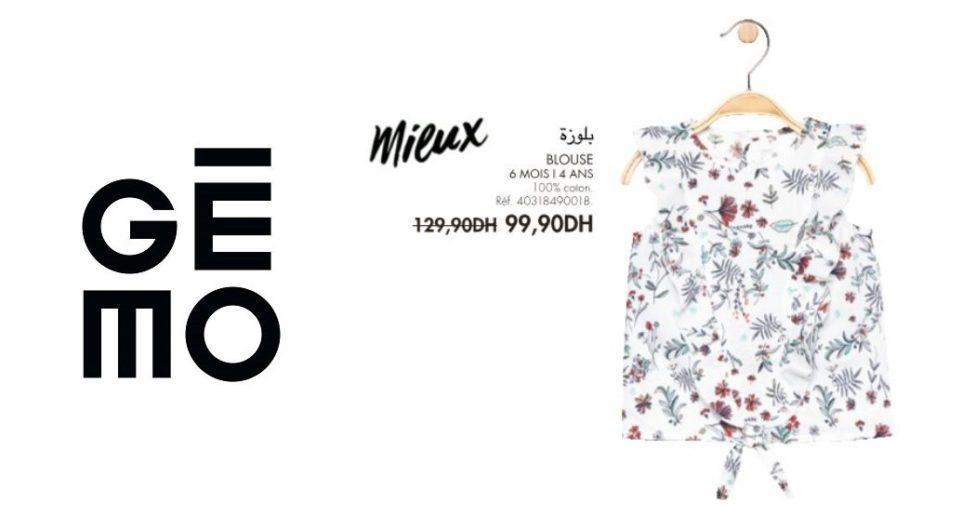 Promo Gémo Maroc Blouse fleurie pour fille 99Dhs au lieu de 129Dhs