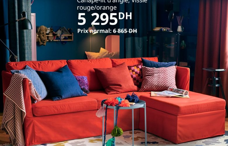 Soldes Ikea Maroc Canapé-lit d'angle BRATHULT 5295Dhs au lieu de 6865Dhs