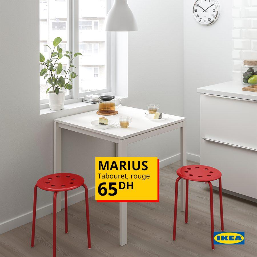 Offre Spéciale Ikea Maroc Tabouret rouge MARIUS 65Dhs
