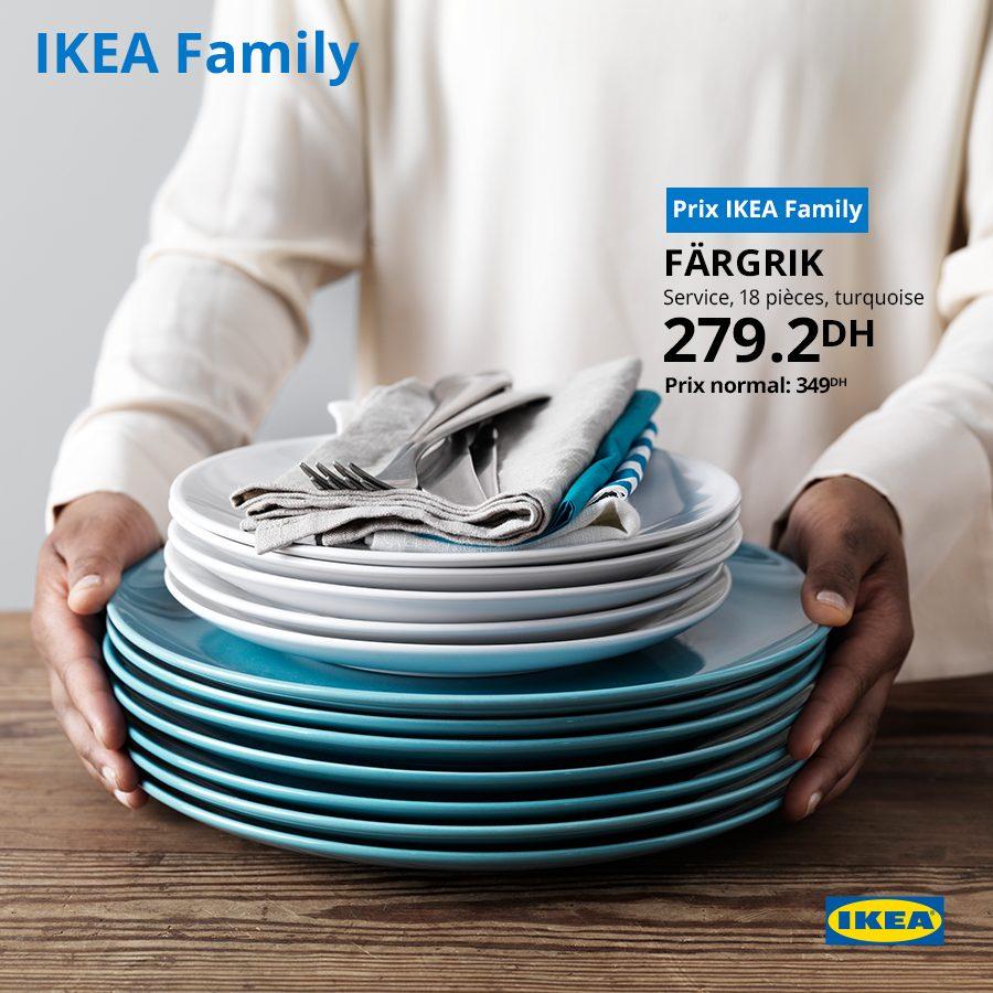 Offre IKEA Family Service 18 pièces FARGRIK 279Dhs au lieu de 349Dhs