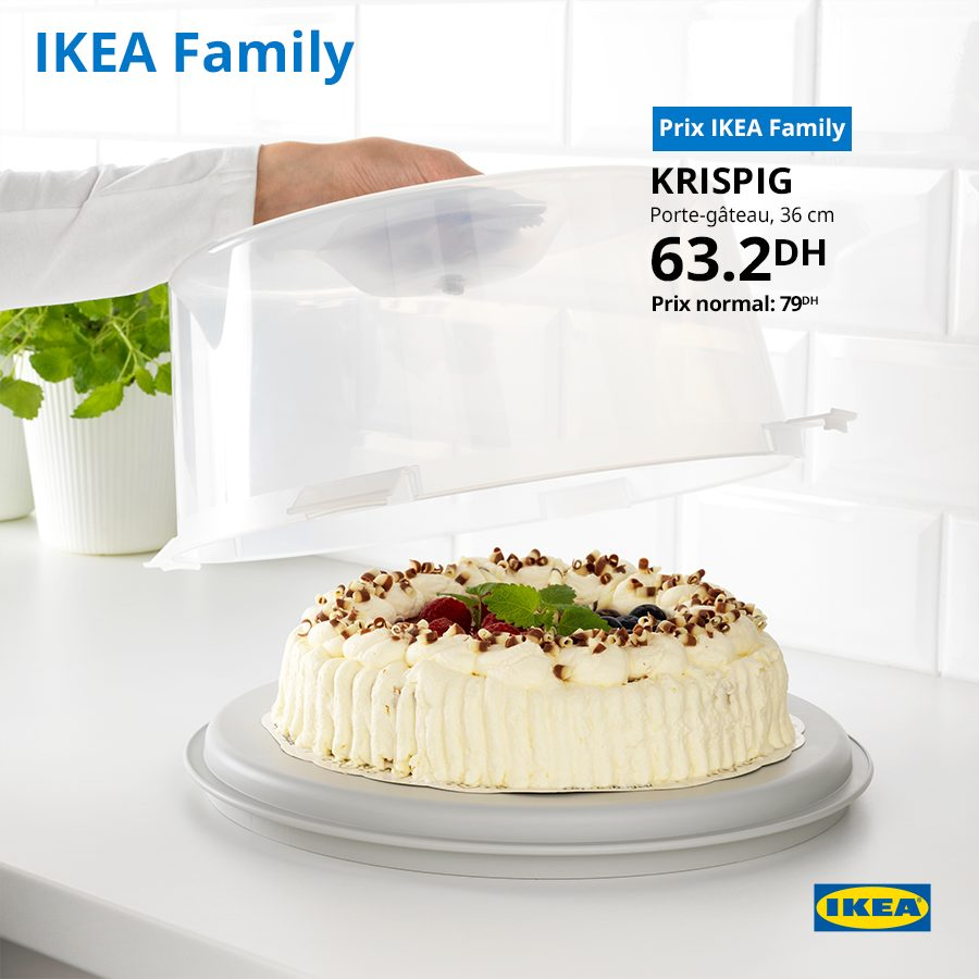 Promo Ikea Family Porte-gâteau KRISPIG 63Dhs au lieu de 79Dhs