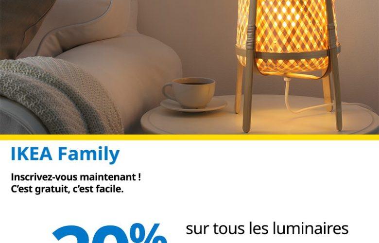 Promo Ikea Family Maroc -20% sur tous l'Espace luminaires