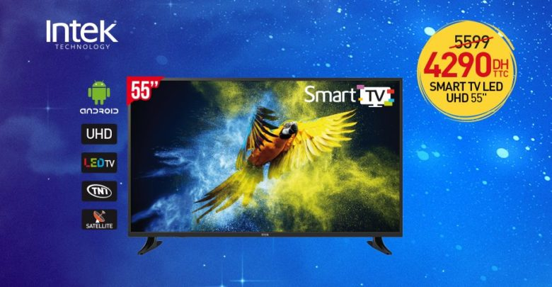 Photo of Promo Biougnach Electro Smart TV INTEK 55° UHD 4290Dhs au lieu de 5599Dhs