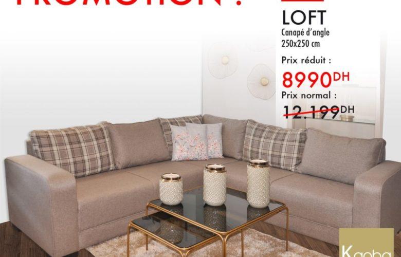 Promo Kaoba Ameublement Canapé d'angle LOFT 8990Dhs au lieu de 12199Dhs
