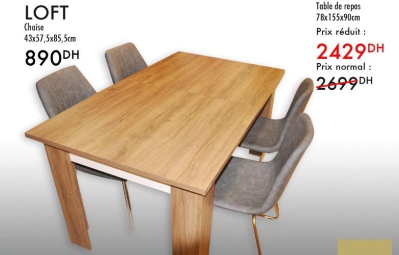 Promo Kaoba Ameublement Table de repas LILAS 2429Dhs au lieu de 2699Dhs
