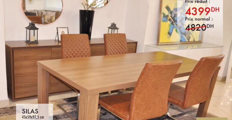 Promo Kaoba Ameublement Table à manger PERCIOSA 4399Dhs au lieu de 4820Dhs