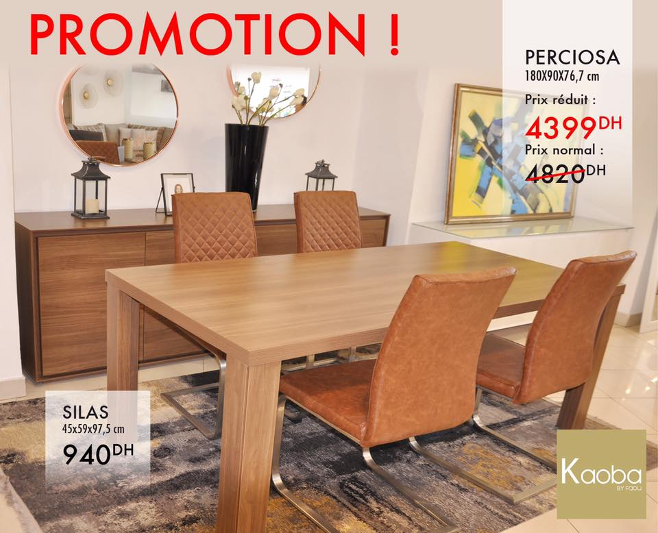 Promo Kaoba Ameublement Table à manger PERCIOSA 4399Dhs au lieu de 4820Dhs