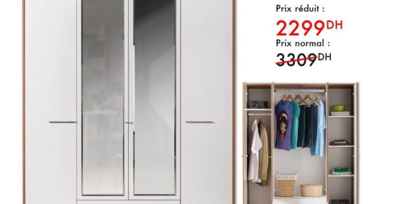 Photo of Promo Kaoba Ameublement Armoire 4 portes CANDY 2299Dhs au lieu de 3309Dhs