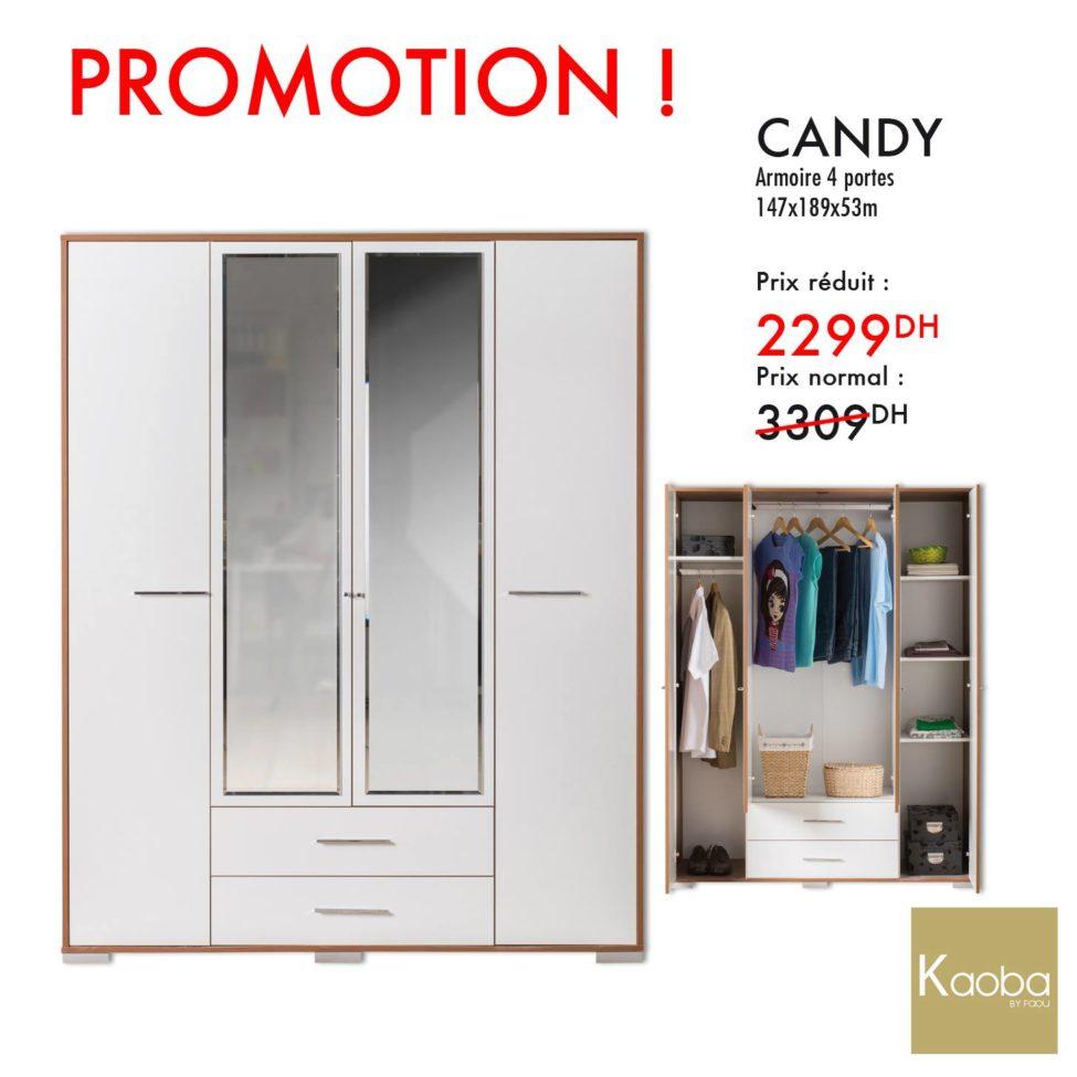 Promo Kaoba Ameublement Armoire 4 portes CANDY 2299Dhs au lieu de 3309Dhs