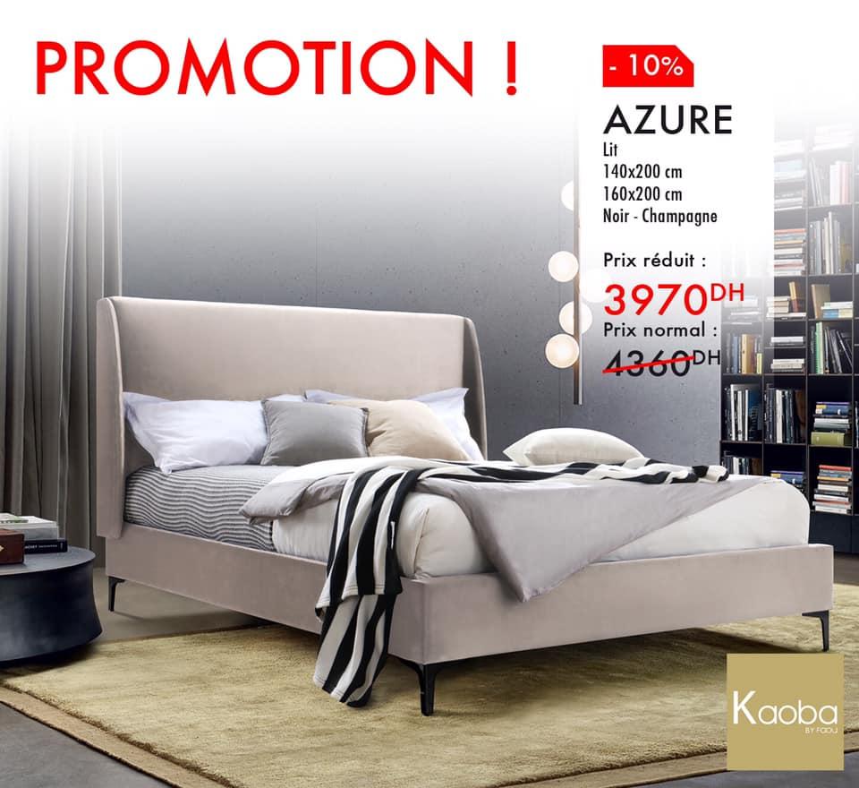 Promo Kaoba Ameublement Lit AZURE Noir- Champagne 3970Dhs au lieu de 4360Dhs