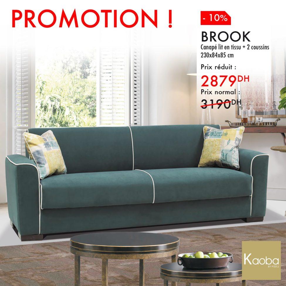 Promo Kaoba Ameublement Canapé lit en tissu + 2 coussins 2879Dhs au lieu de 3190Dhs