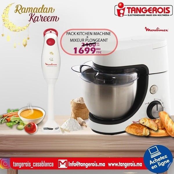 Promo Tangerois Electro Kitchen machine + mixeur plongeant MOULINEX 1699Dhs au lieu de 2400Dhs